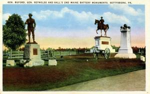 PA - Gettysburg. Gen. Buford, Gen. Reynolds & Hall's 2nd Maine Battery Monuments