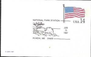 US UX117 Unused. US Flag,  Nat. Park Station - Acadia, Maine