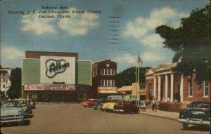 DeLand De Land FL Indiana Ave Movie Theatre Street Cars LINEN Postcard