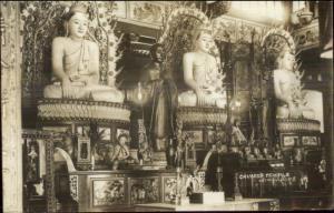 Singapore - Chinese Temple Interior c1930 Real Photo Postcard