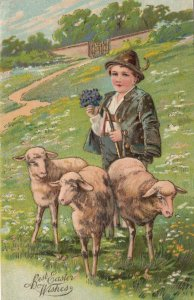 EASTER, 1900-10s; Shepard with sheep holding bouquet of flowers, PFB 6736