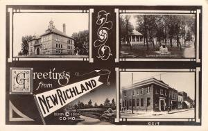New Richland Minnesota~Multi View~City Park~Business Block~Art Nouveau~1923 RPPC