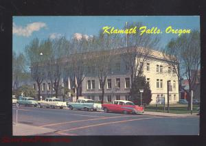 KLAMATH FALLS OREGON COUNTY COURT HOUSE 1950's CARS VINTAGE POSTCARD