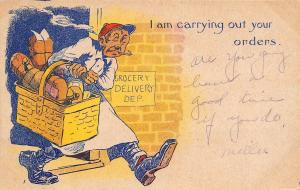 Comic Pun~Am Carrying Out Your Orders~Grocery Basket Delivery Boy~1908 Postcard