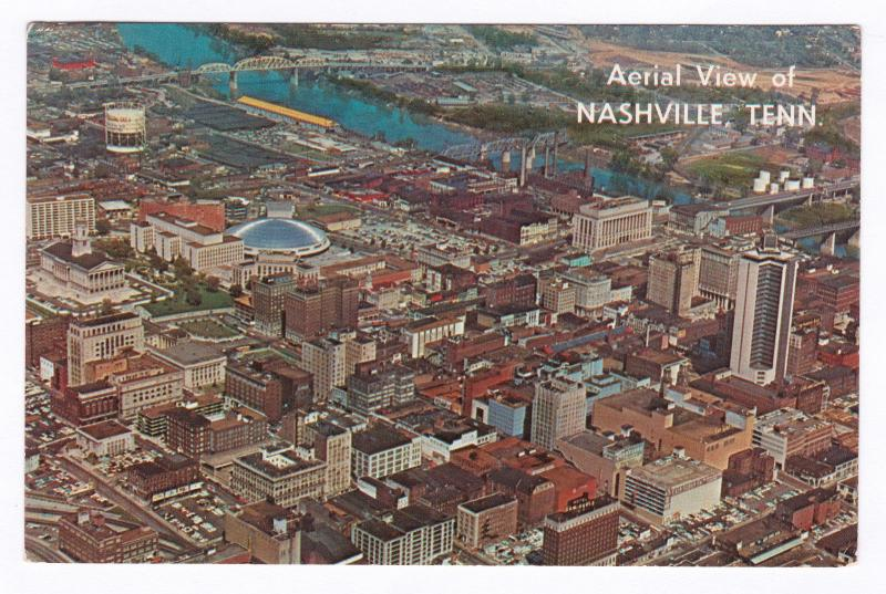 1966 Aerial View of Downtown Nashville TN Posted Grand Island Nebraska Postcard