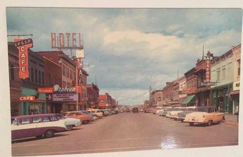 First Street Havre Montana Postcard Cars Downtown View Signs RPPC