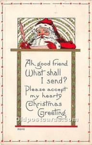 Santa Claus Postcard Old Vintage Christmas Post Card Writing on back