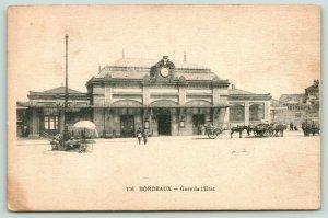 Bordeaux Gironde~Gare de L'etat~State Railroad Station~2:40 PM~Vendor Wagon~1910