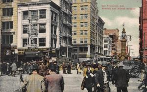 Kearney and Market Streets, San Francisco, California, Early Postcard, Unused
