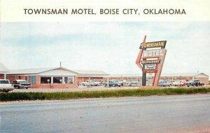 Autos 1960s Boise City Oklahoma Postcard Townsman Motel roadside Young 20-5104