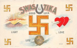 G7/ Swastika Good Luck Postcard c1910 Love Life Light Hearts Emblem 5