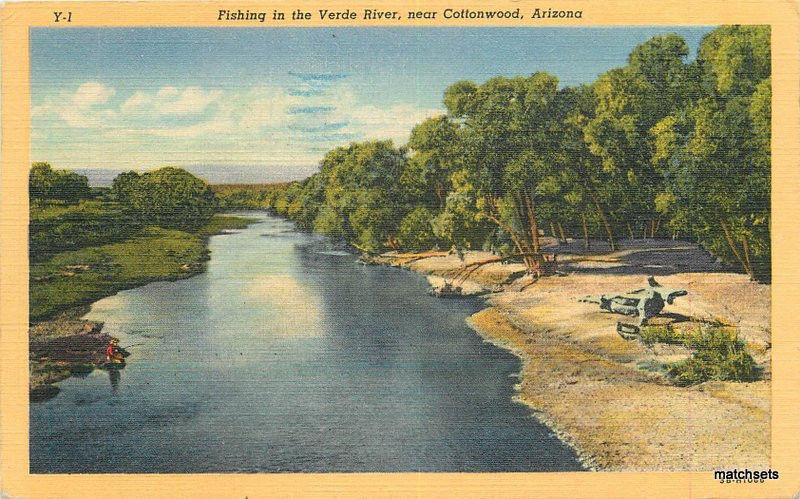 1953 COTTONWOOD Arizona Fishing Verde River Linen TEICH postcard 1183 Yavapai