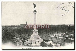 Postcard Old Bordeaux Girondins Monument Of animation right