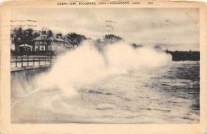 26178 MA, Swampscott, Lynn, 1937, Ocean Surf, Boulevard, waves crashing again...