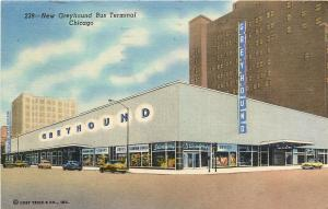 Vintage Linen Postcard; Greyhound Bus Terminal Drugstore Chicago IL posted