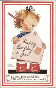 Mabel Lucie Attwell - Little Girl Dripping Fountain Pen Big Envelope Postcard