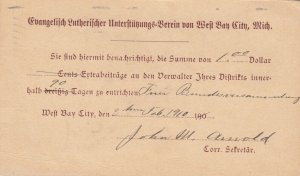 BAY CITY , Michican , 1910 ; Church Notice (In German)