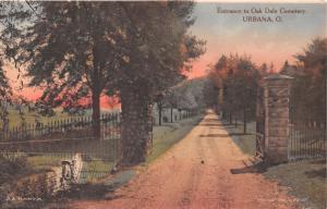 URBANNA OHIO ENTRANCE~OAK DALE CEMETERY~J A BANTA ALBERTYPE POSTCARD 1910s