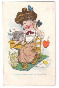 Office Humor Secretary Boss Vintage Postcard