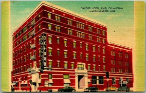 ENID Oklahoma Postcard OXFORD HOTEL Street View Martin Garber, Mgr. Linen 1953