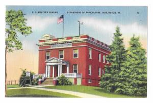 U.S. Weather Bureau Burlington VT Dept of Agriculture Vintage Linen Postcard