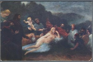 Old Postcard Nude Lying Girl Goethe Faust Helena by Fantin-Latour