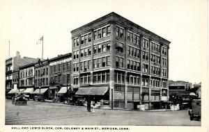 CT - Meriden.  Hall & Lewis Block, Corner of Coloney & Main Sts