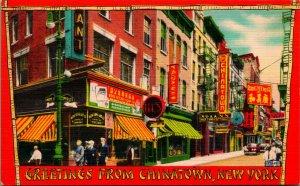 New York Ny Nyc Saludos De Chinatown sin Usar Unp Vtg Lino Tarjeta Postal