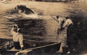 Real Photo Postcard~Bass I Caught~Exaggerated Fish Pulls Man In~1909 Martin RPPC