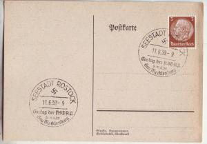 P1182 1939 wwII nazi germany swastika seestadt rostock cancel with stamp