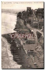 Old Postcard Ault Onival The Beach Casino And Cliffs Directorate D & # 39Onival
