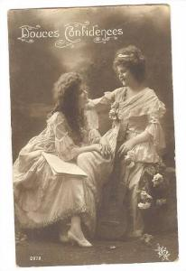 RP; Douces Confidences, Two maidens wearing white gowns sharing secrets, 00-10s