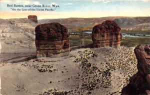 GREEN RIVER WYOMING RED BUTTES ~ON THE LINE OF THE UNION PACIFIC POSTCARD 1915