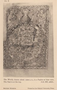 World Map From 1200 AD Psalter Antique London Museum Postcard
