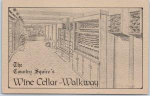 Warsaw, North Carolina Postcard THE COUNTRY SQUIRE Wine Cellar-Walkway Unused