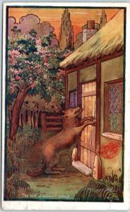 1910 England UK Ad Postcard Grade A Pure Cocoa The Wolf at Granny's Cottage