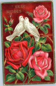 Best Wishes - floral with doves postcard