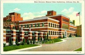 1948 Jefferson City Postcard Main Entrance, MISSOURI STATE PENITENTIARY Linen