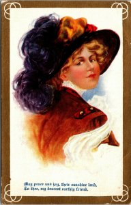 1909 - MAY PEACE & JOY - Beautiful Victorian Woman Antique Postcard