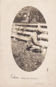 RP; CATHARINE , New York, PU1908 ; Man Painting a fence
