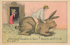 Exageration surrealism old comic postcard man ride huge rabbit fantaisie lapin