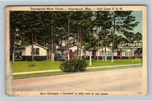 MS-Mississippi, Pascagoula Motor Court Cottage's, Advertising Linen Postcard