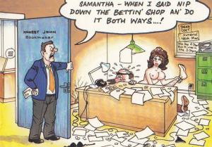 Dishonest Bookie Bookmaker Secretary Winning Horse Tip Comic Humour Postcard