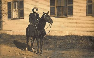 Portland ME Woodfords ME Area Girl Riding Horse Real Photo Postcard