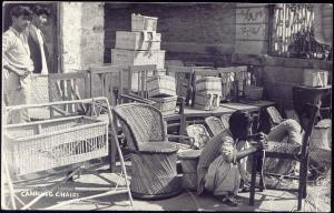 west pakistan, Native Man Caning Chairs (1960) RPPC