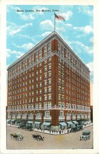 Des Moines Iowa~Hotel Savery~401 Locust~Awnings Over Shops~1920s Cars~Postcard