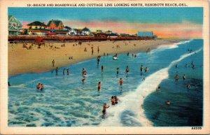 Vtg 1930s Boardwalk and Cottage Line Rehoboth Beach Delaware DE Unused Postcard