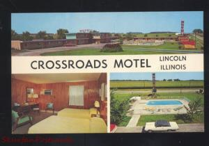 LINCOLN ILLINOIS CROSSROADS MOTEL ROUTE 66 INTERIOR ADVERTISING POSTCARD TV ON