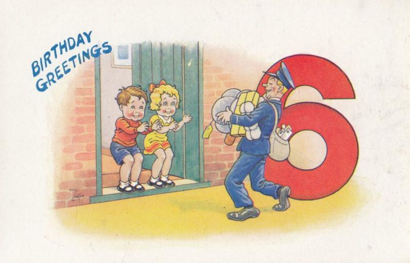 Children With Postman Sack 6 Years Old Birthday Greetings Postcard