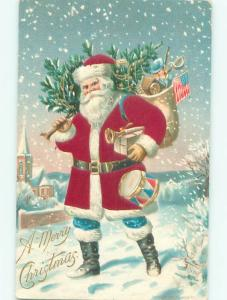 Pre-Linen Christmas SANTA CLAUS WEARS BLUE PANTS WITH PATRIOTIC USA FLAG AB4723